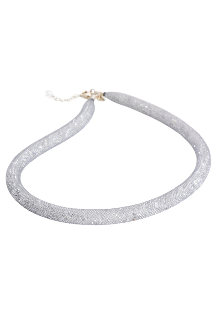 by niya London Flashbulb Fireflies Necklace with Sterling Silver Clasp - Grey & Clear - Blissimi Beauty LLP