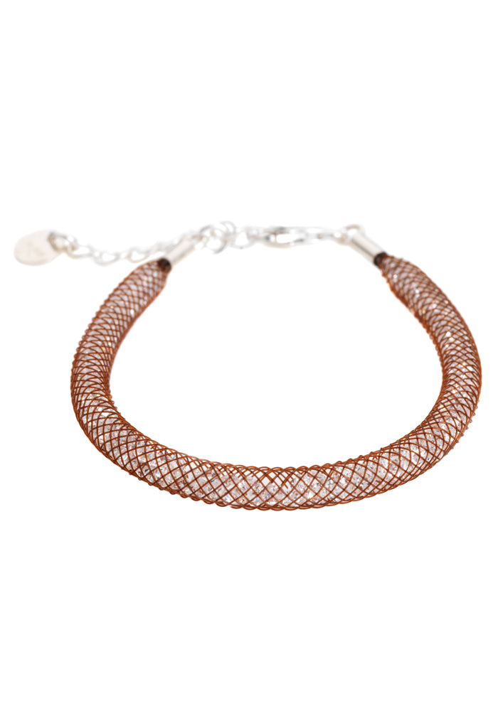 by niya London Glitzerland Skinny Bracelet with Sterling Silver Clasp - Brown & Clear - Blissimi Beauty LLP