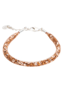 by niya London Glitzerland Skinny Bracelet with Sterling Silver Clasp - Nude & Champagne - Blissimi Beauty LLP