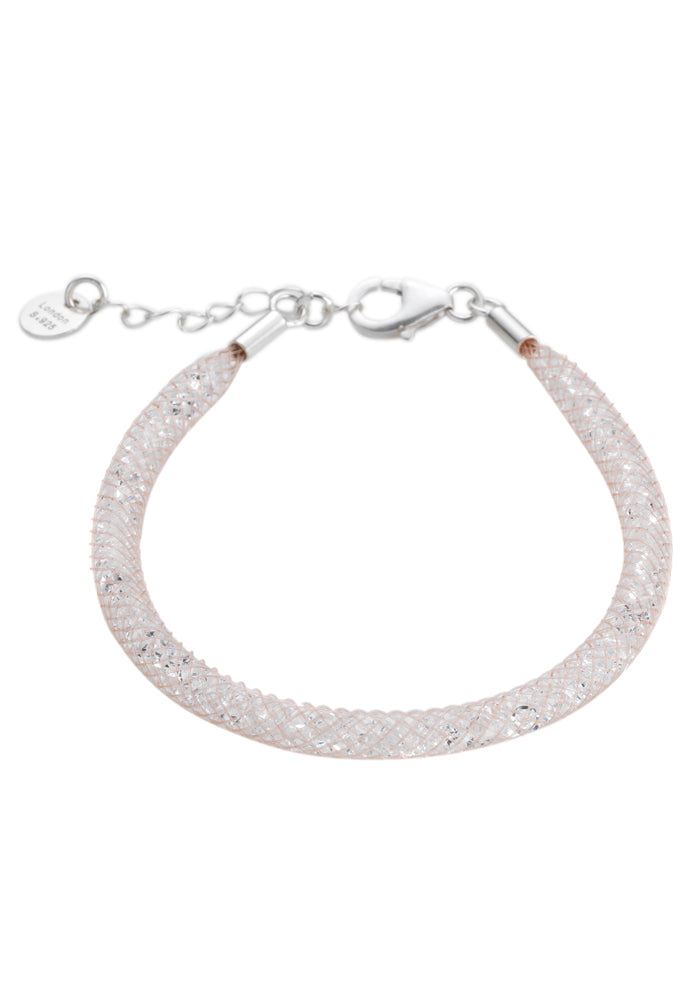 by niya London Glitzerland Skinny Bracelet with Sterling Silver Clasp - Nude & Clear - Blissimi Beauty LLP