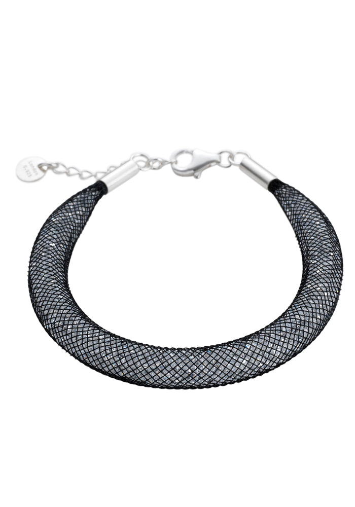 by niya London Shanghai Stars Fatty Bracelet with Sterling Silver Clasp - Black & Clear - Blissimi Beauty LLP
