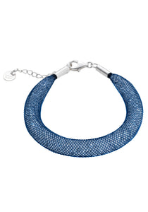 by niya London Shanghai Stars Fatty Bracelet with Sterling Silver Clasp - Blue & Clear - Blissimi Beauty LLP