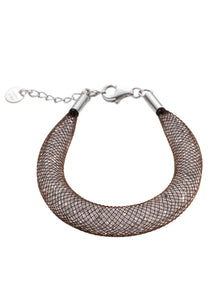 by niya London Shanghai Stars Fatty Bracelet with Sterling Silver Clasp - Brown & Clear - Blissimi Beauty LLP