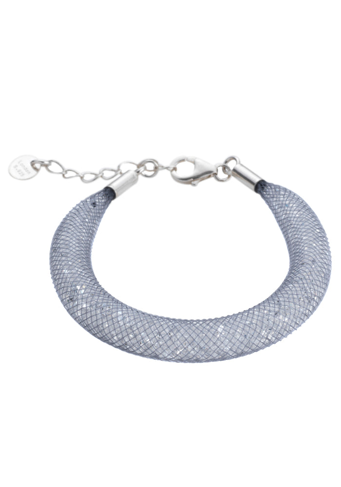 by niya London Shanghai Stars Fatty Bracelet with Sterling Silver Clasp - Grey & Clear - Blissimi Beauty LLP