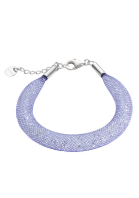 by niya London Shanghai Stars Fatty Bracelet with Sterling Silver Clasp - Lilac & Clear - Blissimi Beauty LLP