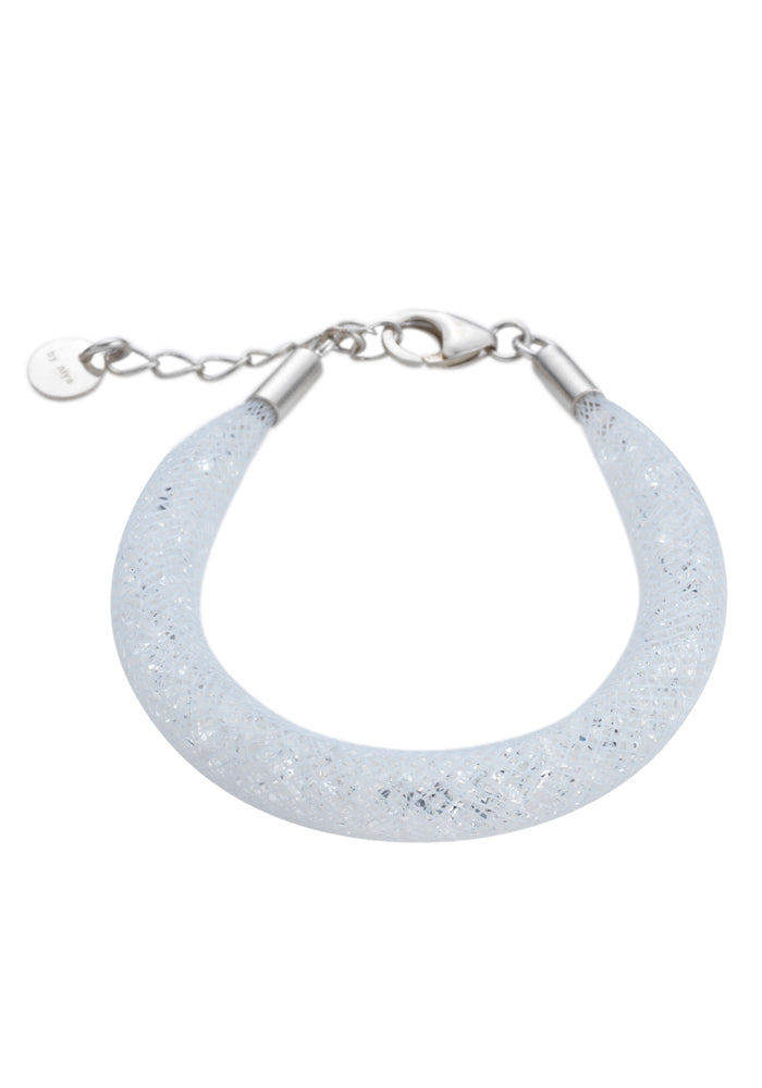 by niya London Shanghai Stars Fatty Bracelet with Sterling Silver Clasp - White & Clear - Blissimi Beauty LLP