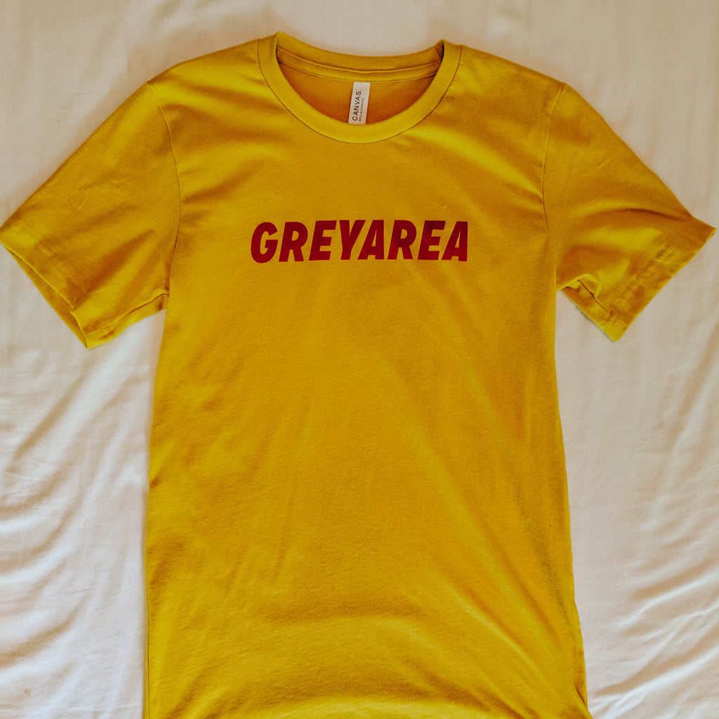 "Soft cotton short sleeve t-shirt reading ""Grey Area"" on the front."
