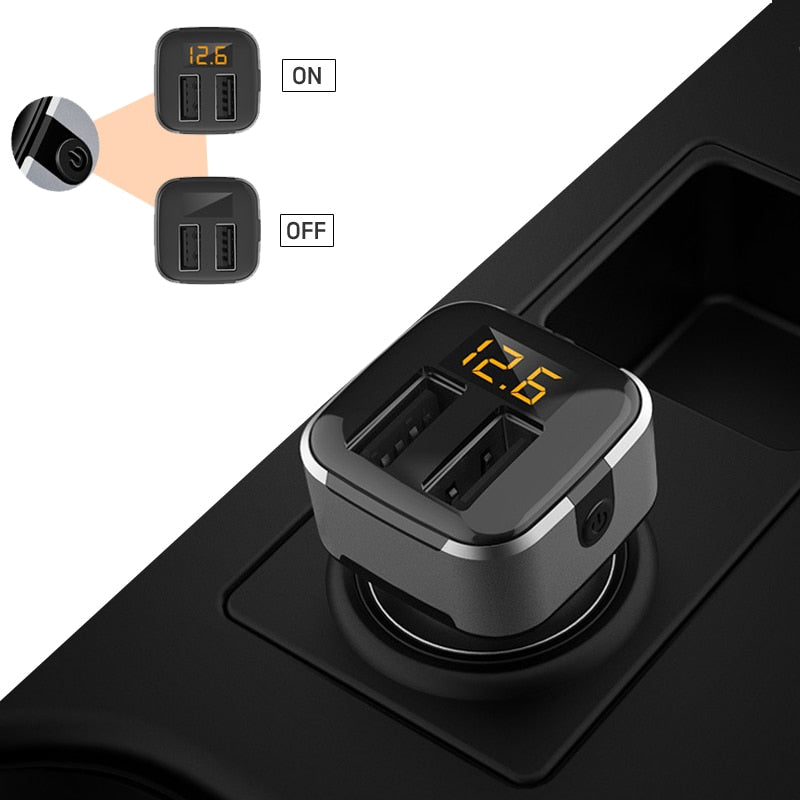 18W 3.1A Dual USB Car Charger With Voltage Display