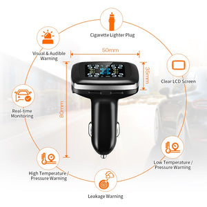 TPMS Tire Pressure Monitoring System Cigarette Plug With USB Charger