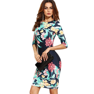 Navy Blue Flower Print Party Dress - LuxuraEessa