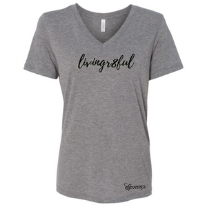 WOMEN'S RELAXED JERSEY SHORT SLEEVE V-NECK TEE GREY