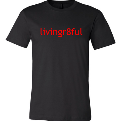 Livingr8ful Black/Red Lettering T-Shirt