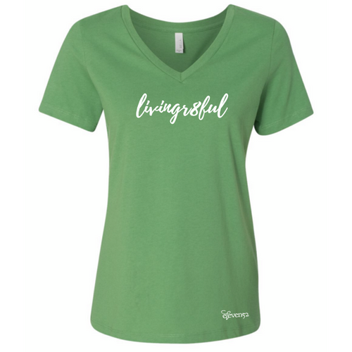WOMEN'S RELAXED JERSEY SHORT SLEEVE V-NECK TEE GREEN