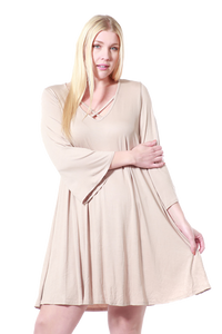 Women's Plus Size Drawstring Half Sleeve Blouse Dress
