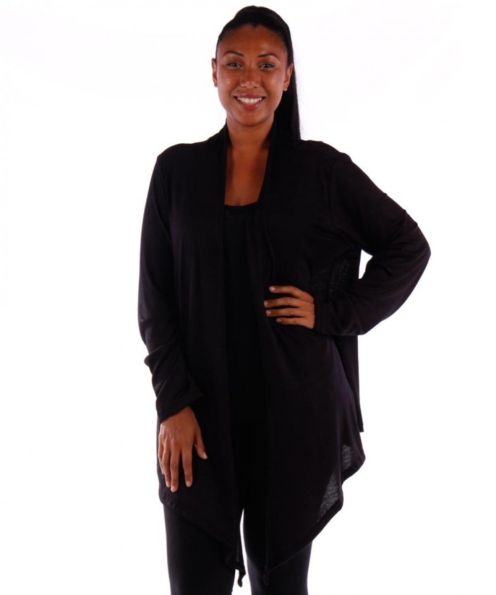 Yummy Plus Plus Size Open Cardigan (Black, 1X)