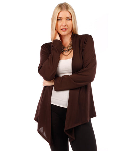 Yummy Plus Plus Size Open Cardigan (Coffee Brown, 1X)