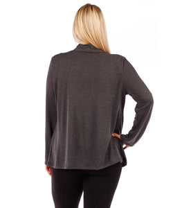 Plus Size Open Front Cardigan Sweater (Charcoal Grey)