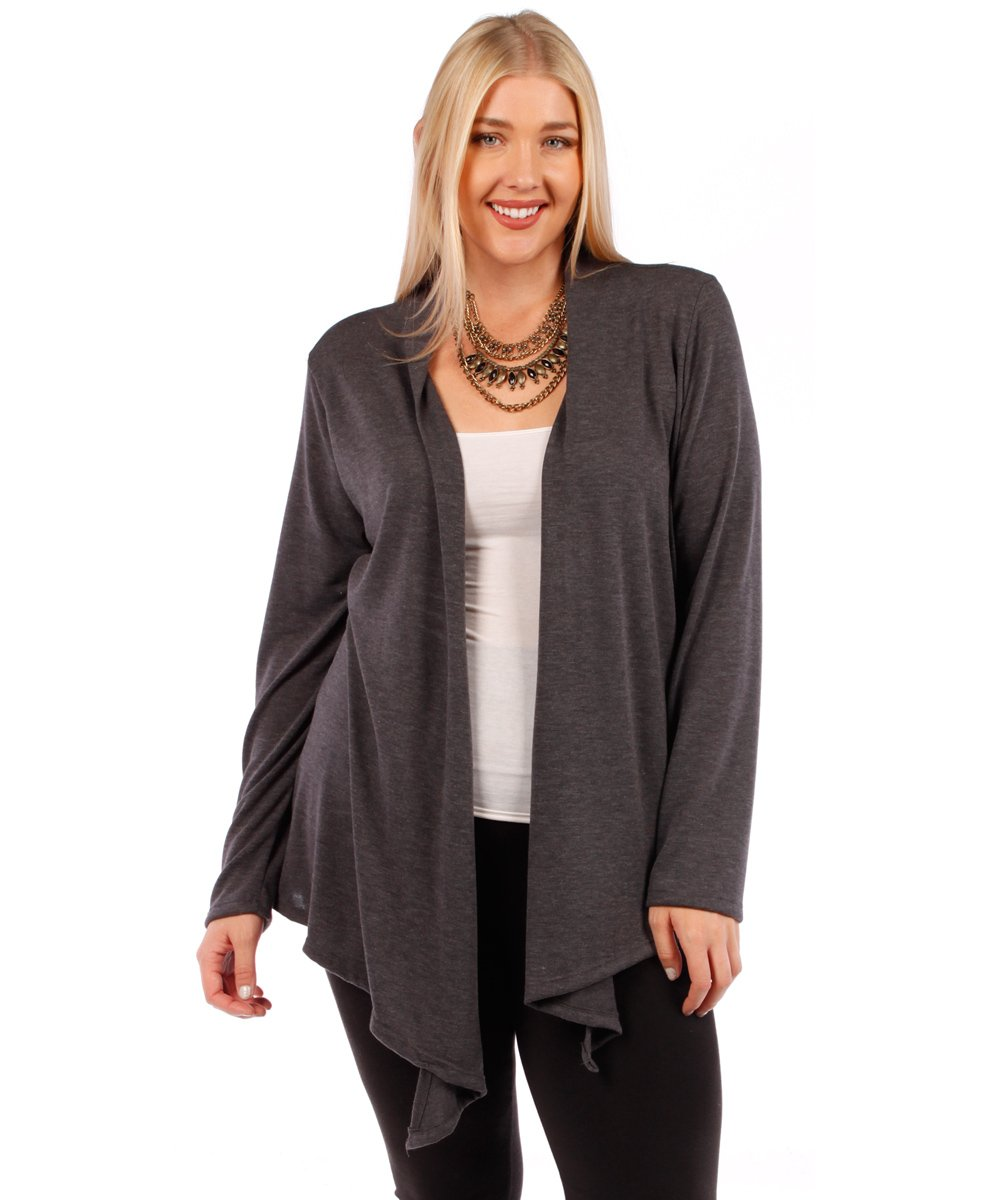 Yummy Plus Plus Size Open Cardigan (Charcoal Grey, 1X)