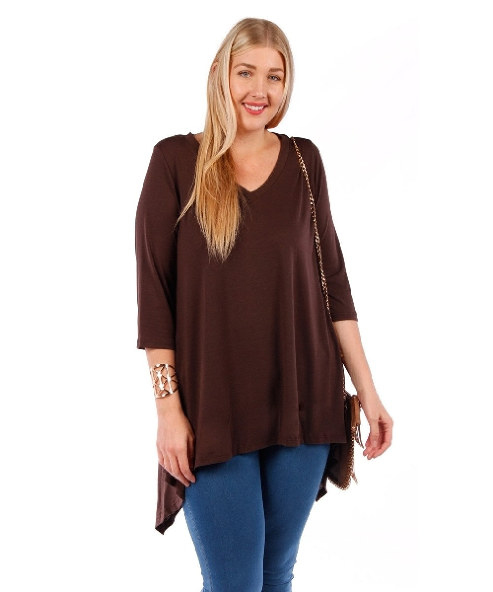 Plus Size Tunic Top, 3/4 Sleeve (Coffee Brown)