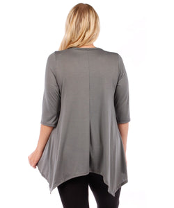 Plus Size Tunic Top, 3/4 Sleeve (Charcoal Grey)