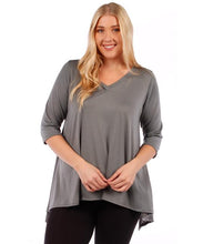 Load image into Gallery viewer, Yummy Plus 3/4 Sleeve Plus Size Tunic Top, V-Neck, Handkerchief Hem (Charcoal Grey, 1X)