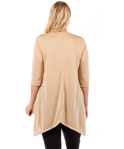 Plus Size Tunic Top, 3/4 Sleeve (Sand Beige)