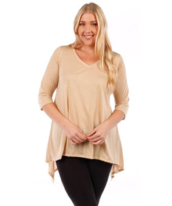 Yummy Plus 3/4 Sleeve Plus Size Tunic Top, V-Neck, Handkerchief Hem (Sand Beige, 1X)