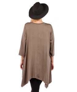 Plus Size Tunic Top, 3/4 Sleeve (Mocha Brown)