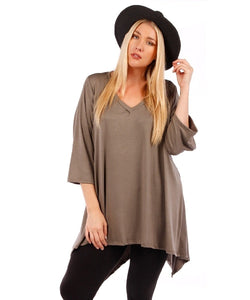 Yummy Plus 3/4 Sleeve Plus Size Tunic Top, V-Neck, Handkerchief Hem (Mocha Brown, 4X)