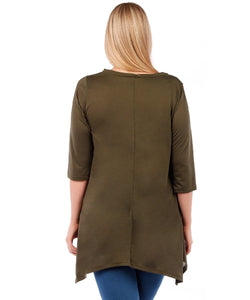 Plus Size Tunic Top, 3/4 Sleeve (Olive Green)