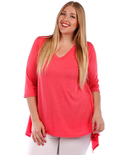 Plus Size Tunic Top, 3/4 Sleeve (Coral Pink)