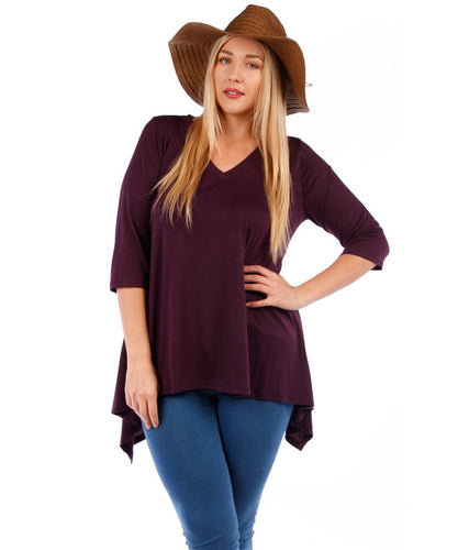 Yummy Plus 3/4 Sleeve Plus Size Tunic Top, V-Neck, Handkerchief Hem (Eggplant Purple, 1X)