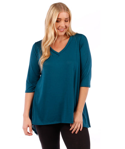 Plus Size Tunic Top, 3/4 Sleeve (Teal Blue)