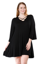 Load image into Gallery viewer, Women's Plus Size Drawstring Half Sleeve Blouse Dress