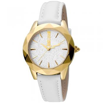Just Cavalli Rock Ladies Leather Strap Watch Silver Dial - RIBI Malta