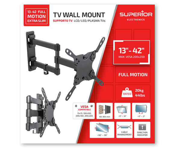"Superior TV Wall Mount 13""-42"" Full Motion Extra Slim - RIBI Malta"