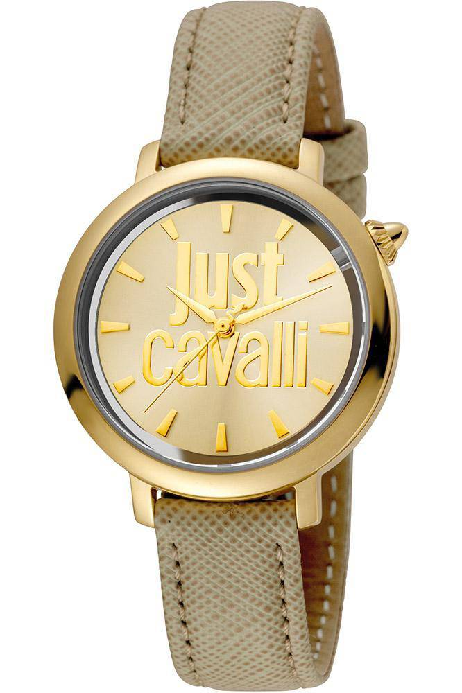 Just Cavalli Gold Dial Ladies Watch with Leather Strap - RIBI Malta
