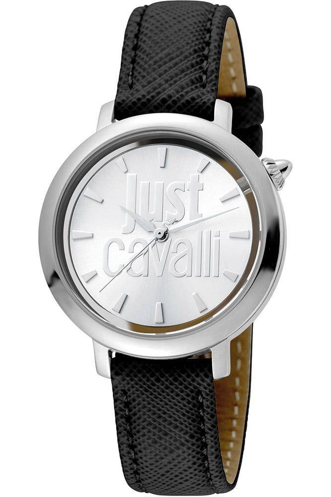 Just Cavalli Logo Silver Dial Ladies Watch with Leather Strap - RIBI Malta