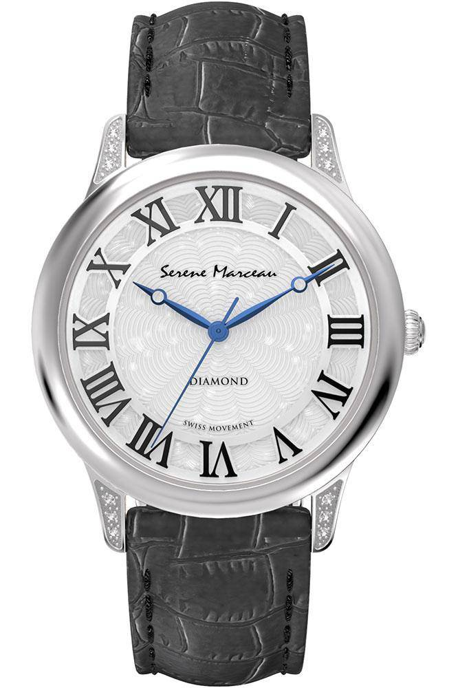 Serene Marceau Diamond Ladies Watch Pont des Arts with Black Leather band - RIBI Malta