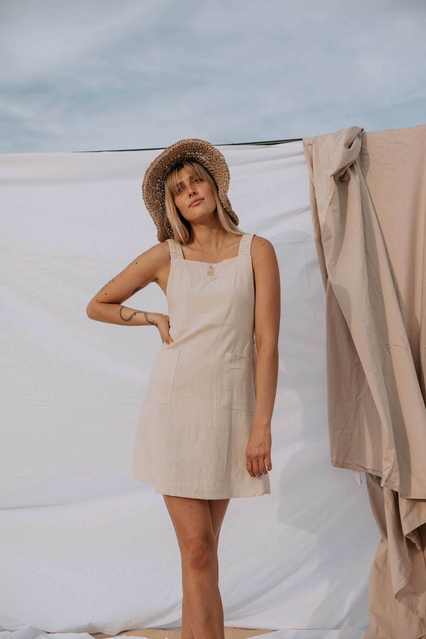 The Harper Pinafore in Natural