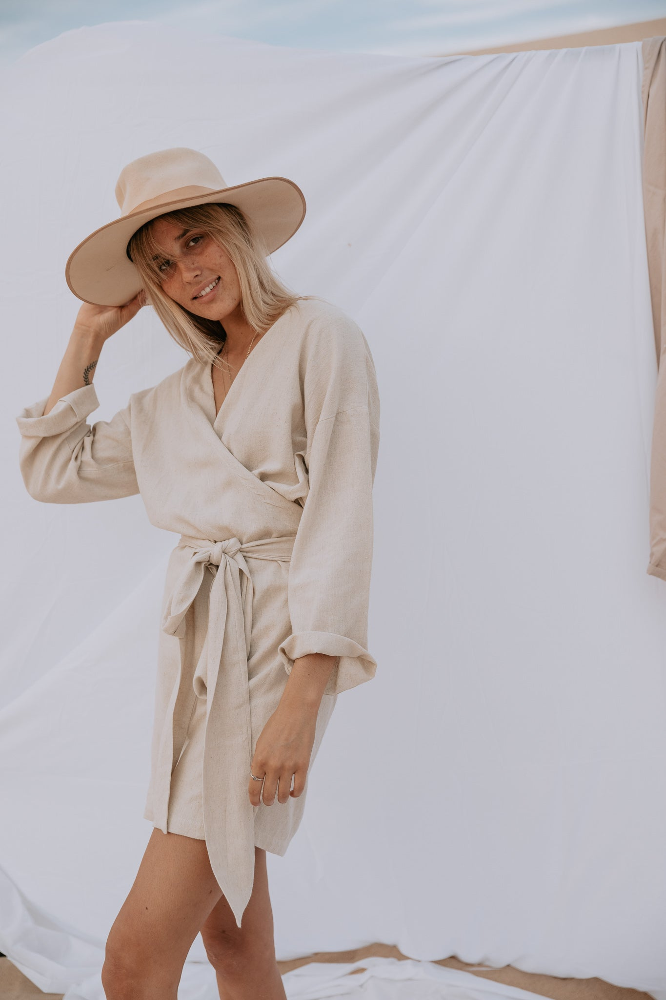 The Oasis Wrap Dress in Natural