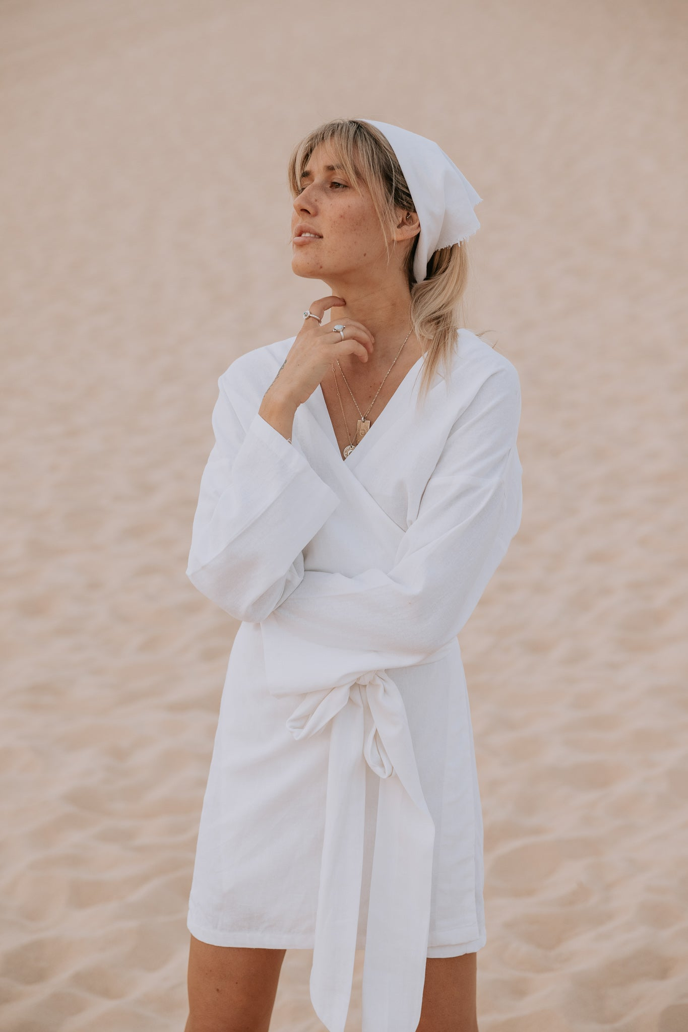 The Oasis Wrap Dress in Crisp White