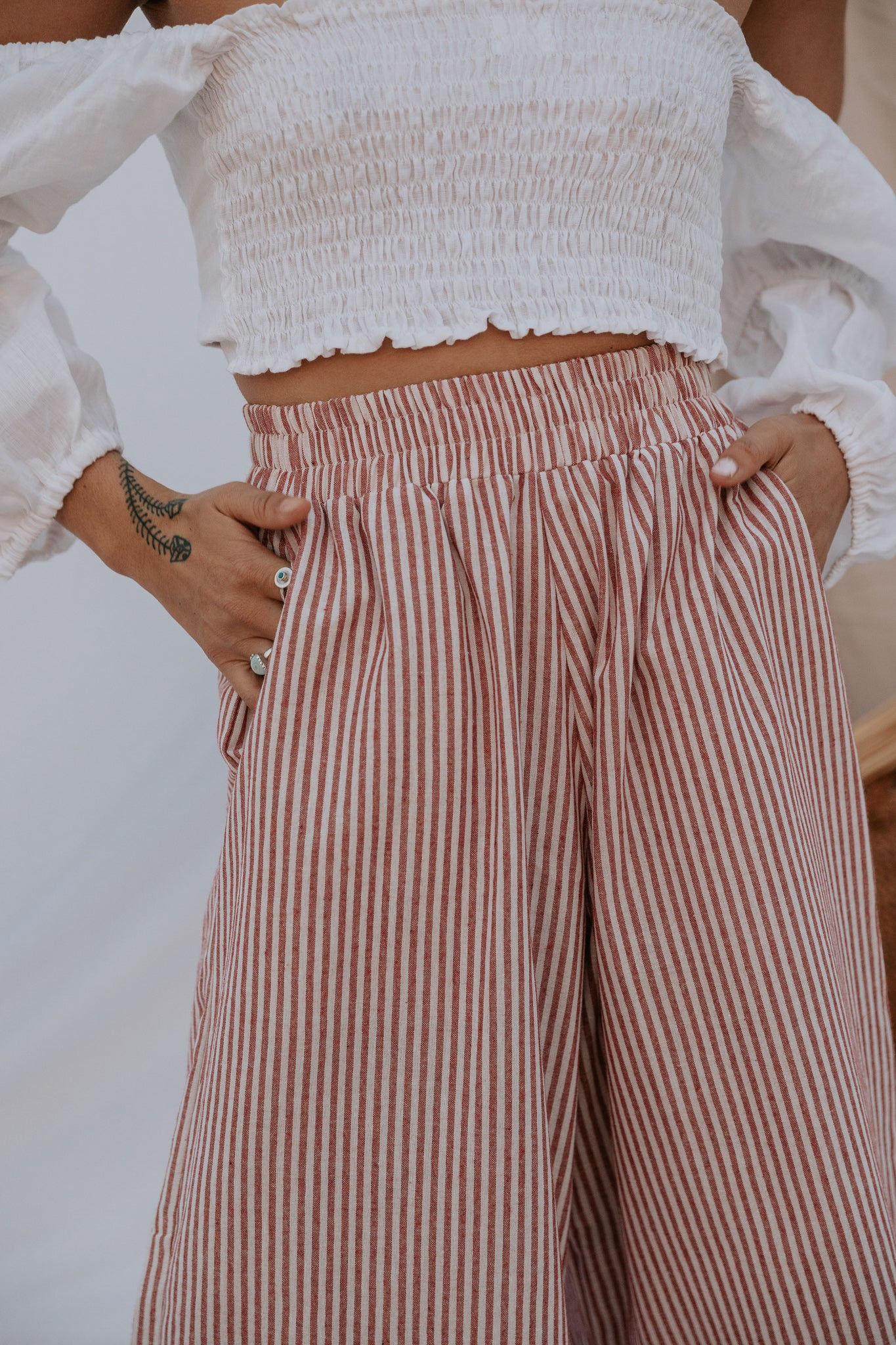 The Zephyr Linen Pants in Red Sailor Stripe