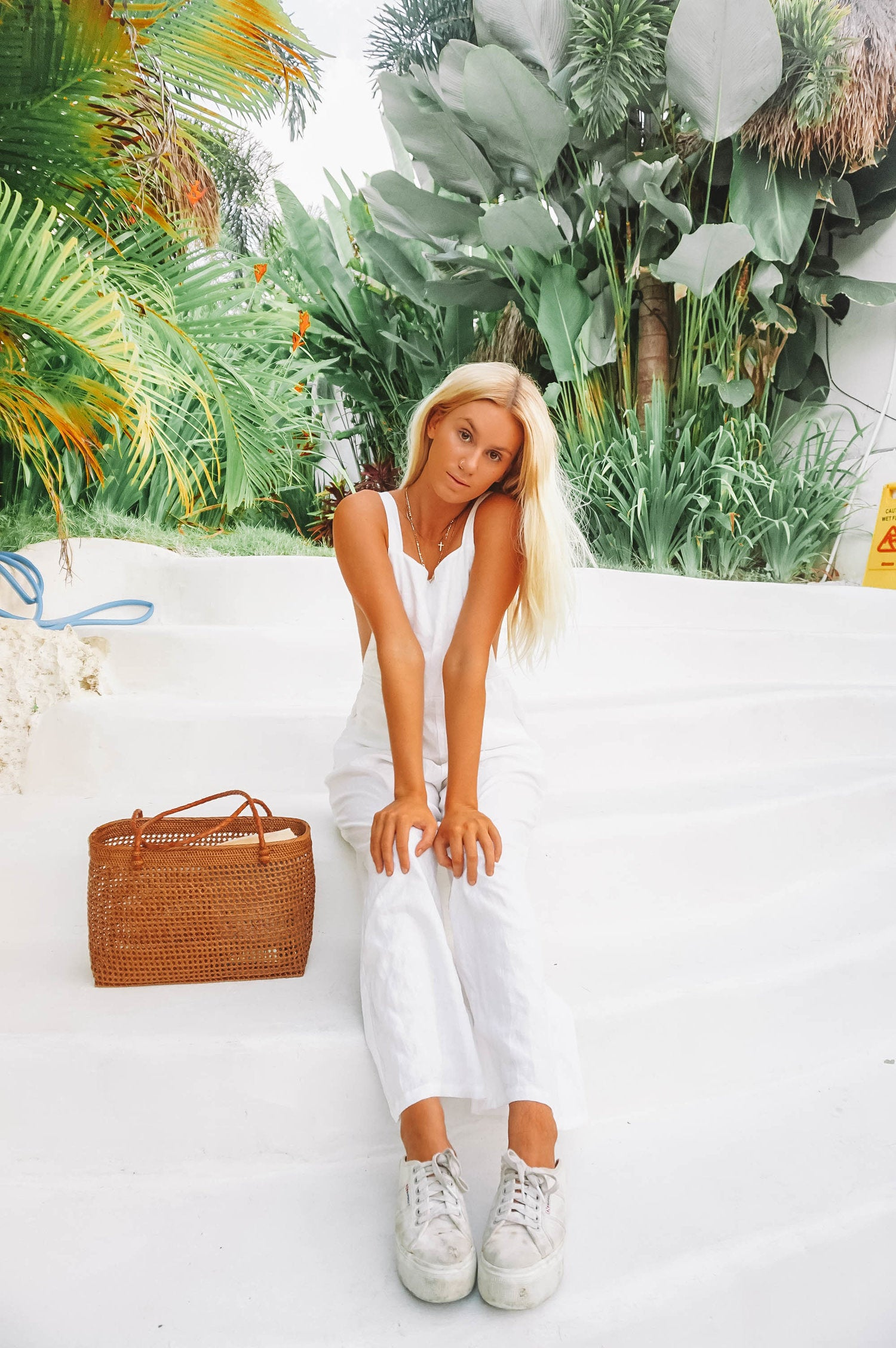 The Ventura Linen Overalls in White