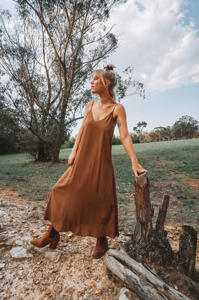 The Lola Midi Dress in Coffee