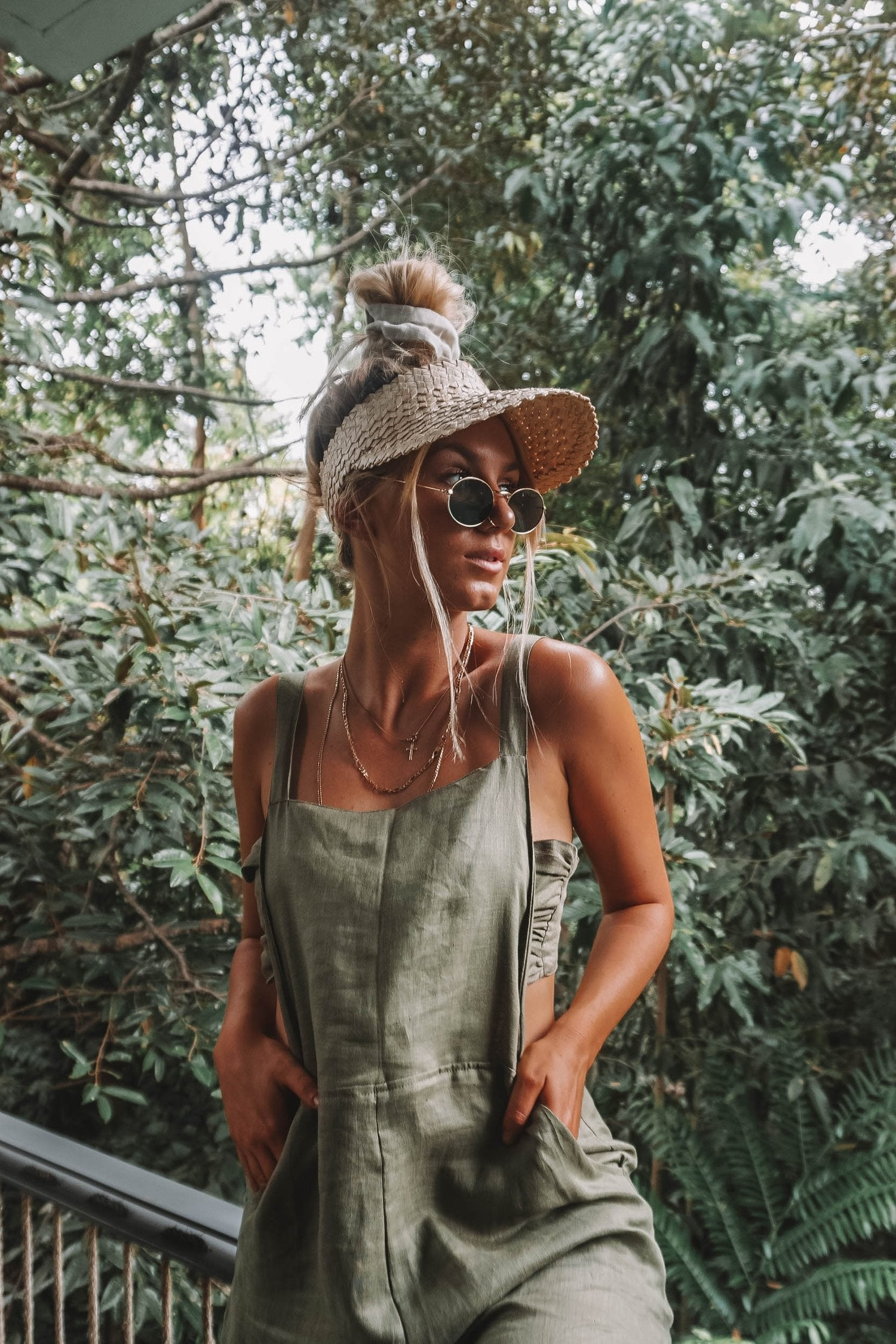 The Ventura Linen Overalls in Khaki