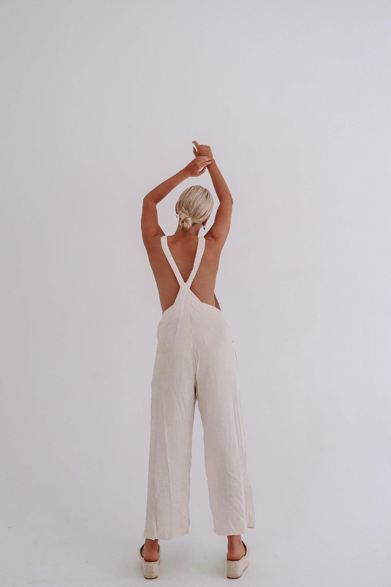 The Ventura Linen Rayon Overalls in Wheat