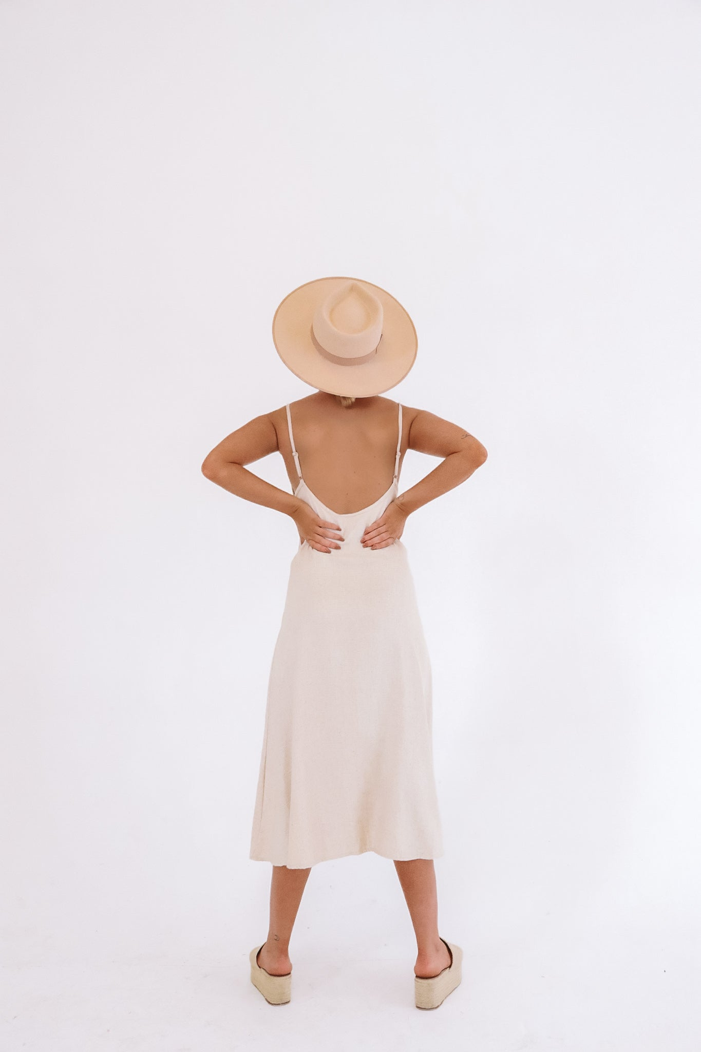 The Lola Midi Dress in Natural Textured Cotton