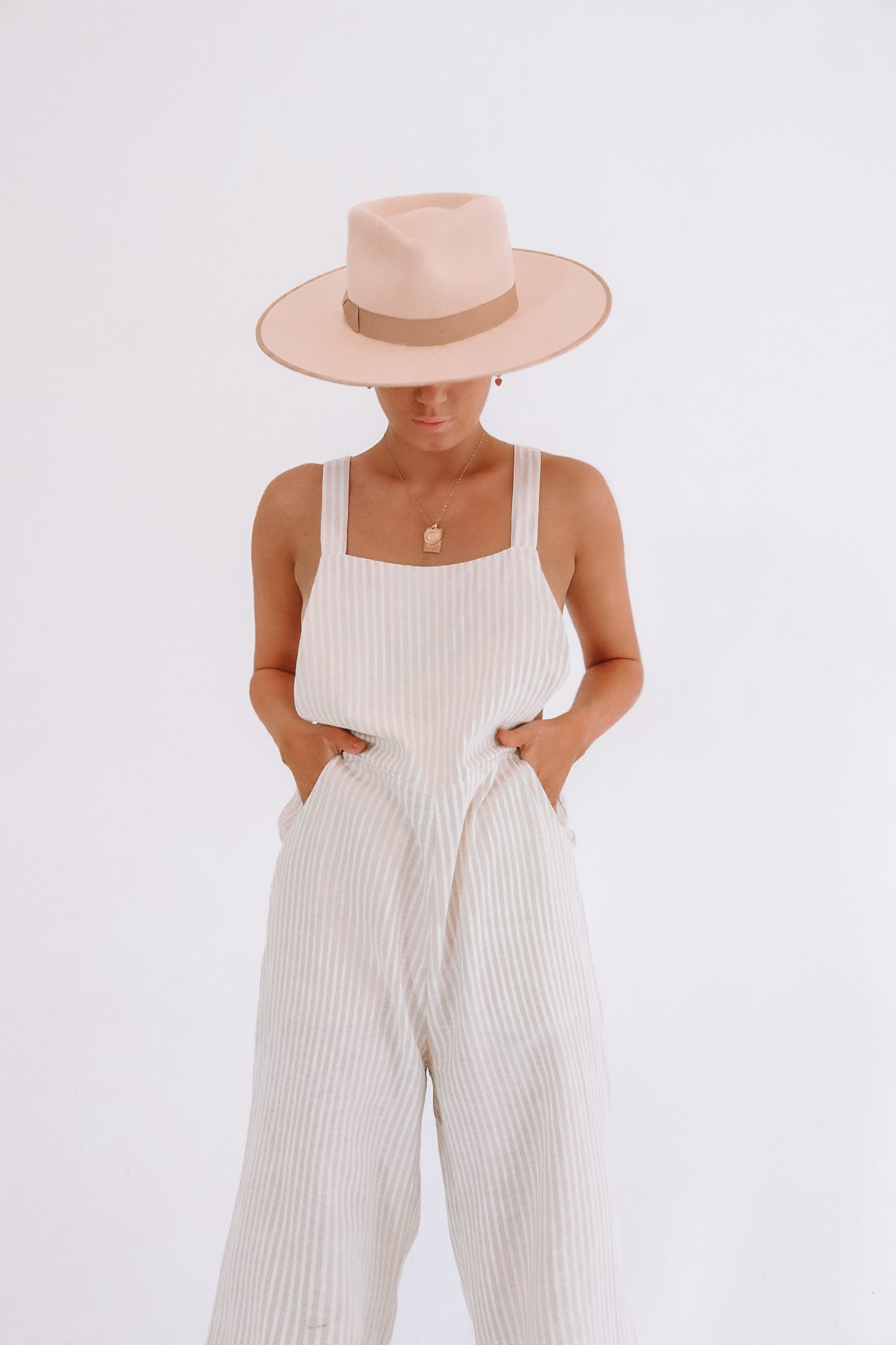 The Ventura Cotton Hemp Overalls in Natural Sailor Stripe