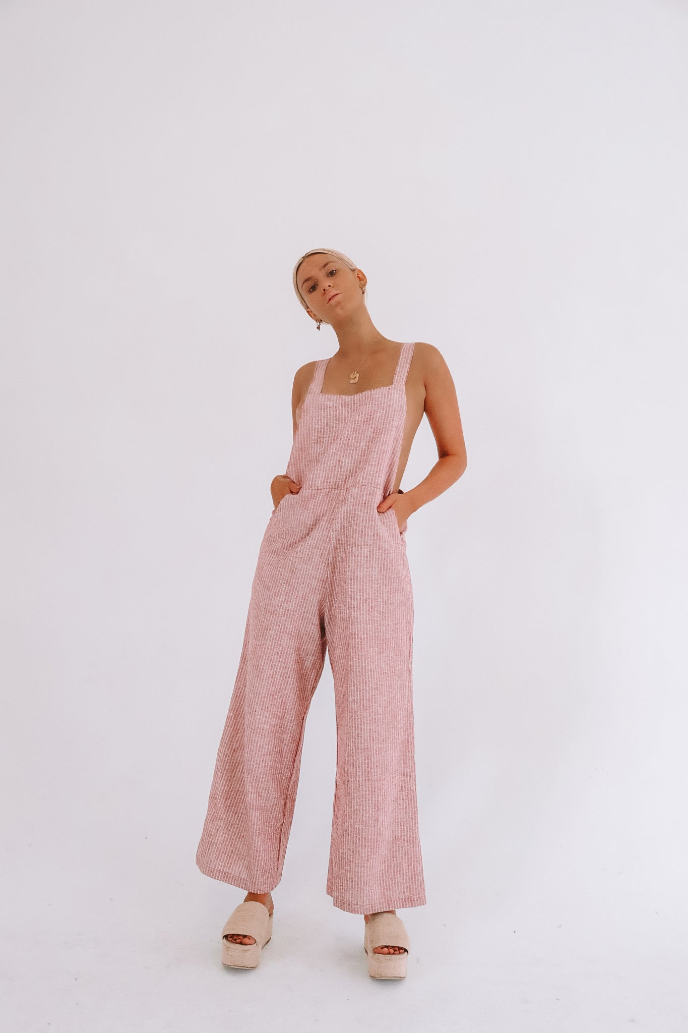 The Ventura Organic Cotton Hemp Overalls in Ruby Stripe
